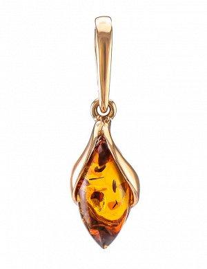 Изящная подвеска из золота с натуральным коньячным янтарём «Подснежник», 707202008