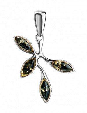 Лёгкий изящный кулон «Жимолость» из серебра и зелёного янтаря, 901712290
