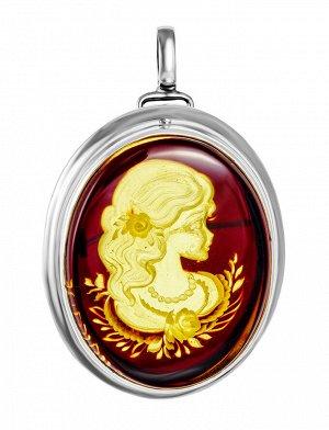 Элегантная брошь-инталия «Элинор» из серебра и натурального балтийского янтаря, 907909067
