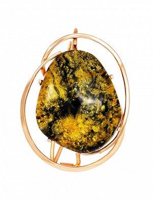 Изысканная подвеска-брошь из серебра и натурального балтийского зелёного янтаря «Риальто», 007902274