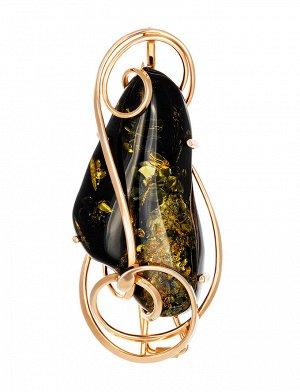 Роскошная подвеска-брошь из позолоченного серебра и зелёного янтаря «Риальто», 007902272