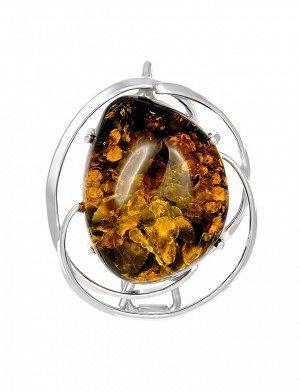 Брошь-кулон из натурального искрящегося янтаря зелёного цвета в серебре «Риальто», 007902270