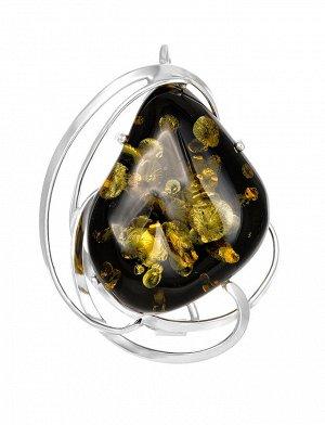Брошь-кулон из натурального искрящегося янтаря тёмно-зелёного цвета в серебре «Риальто», 007902271