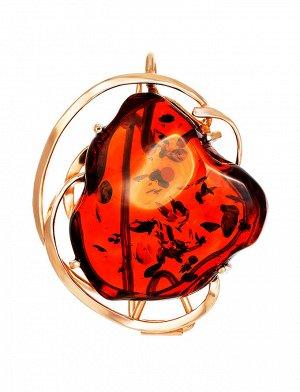 Брошь-кулон из натурального янтаря в золоченном серебре «Риальто», 007902277