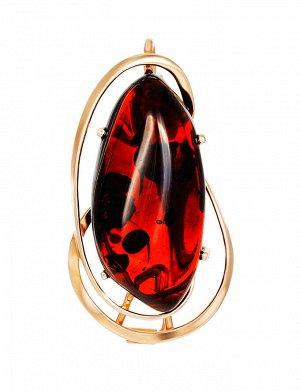 Нарядная брошь «Риальто» из позолоченного серебра и вишнёвого янтаря, 007902267