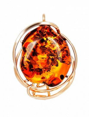 Брошь-кулон из искрящегося янтаря коньячного цвета в золоченном серебре «Риальто», 007902276