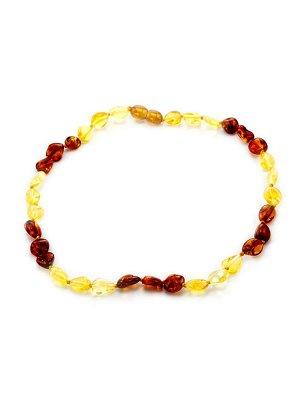 Короткие детские янтарные бусы «Мелкая оливка» золотисто-лимонного и вишневого цвета для детей, 6071202489