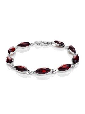 Стильный браслет из серебра и натурального балтийского янтаря тёмно-вишнёвого цвета «Амарант», 007702424
