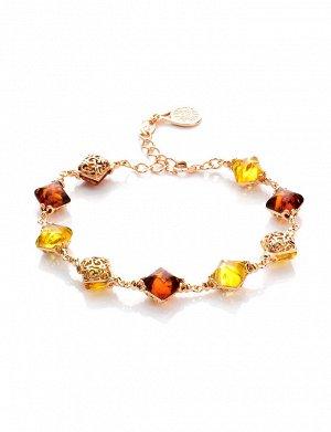Изящный браслет из позолоченного серебра и янтаря двух цветов «Касабланка», 812604245