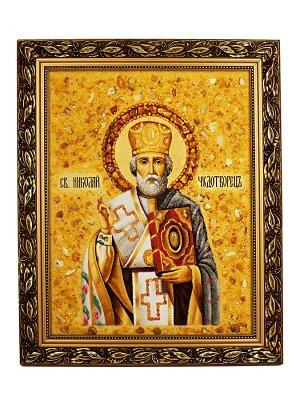 Икона из натурального янтаря «Святой Николай Чудотворец», 006902367