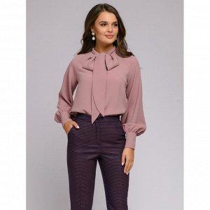 Блузка цвета пыльной розы с бантом и длинными рукавами