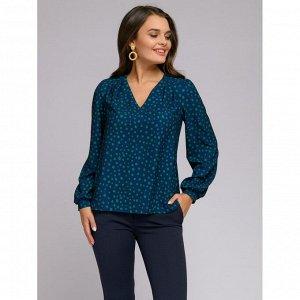 Блуза темно-синяя с принтом и пышными рукавами