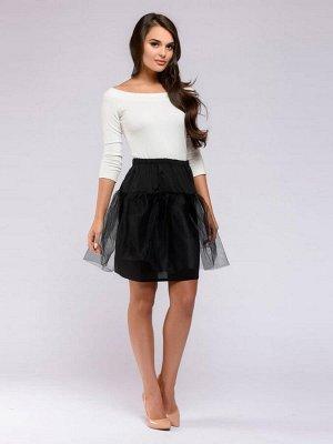 Нижняя юбка черная длины миди