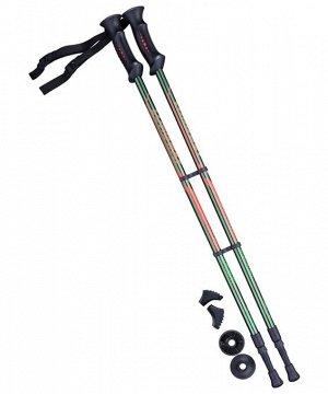 Палки для скандинавской ходьбы Longway, 77-135 см, 2-секционные, тёмно-зеленый/оранжевый