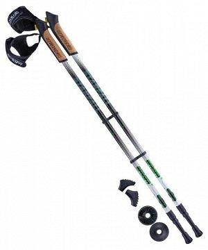 Палки для скандинавской ходьбы Starfall, 77-135 см, 2-секционные, чёрный/белый/ярко-зелёный