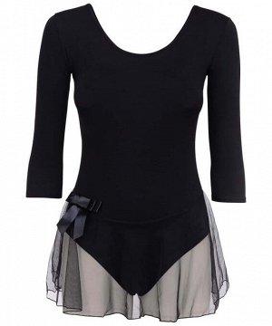Купальник гимнастический Amely AA-181, рукав 3/4, юбка сетка, хлопок, черный (36-42)