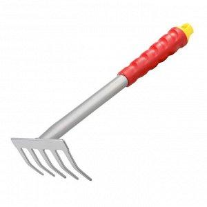Грабли прямые, 5 зубцов, пластиковая ручка, GRINDA