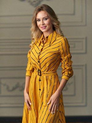 Платье -рубашка цвет горчица в полоску
