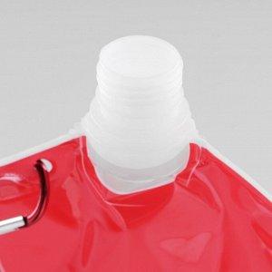 """Фляжка 500 мл """"На футбол"""", с карабином, мягкая, пластик, 25х16 см, микс"""