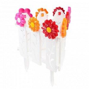 Ограждение декоративное, 36 ? 278 см, 9 секций, пластик, белое, «Цветочный рай»