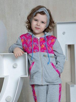 Серая толстовка с капюшоном и карманами для девочки (23612)