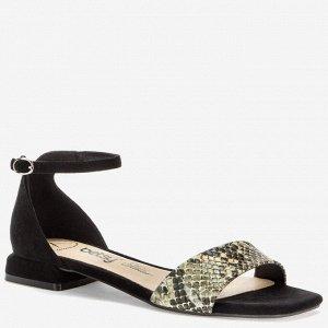 907019/02-01 черный/серый иск.замша/иск.кожа под рептилию женские туфли открытые
