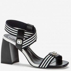 907027/05-01 черный/белый текстиль/иск.кожа женские туфли открытые