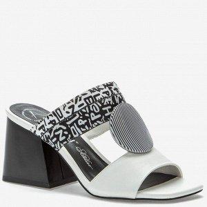 907028/01-04 белый/черный иск.кожа/текстиль женские туфли открытые