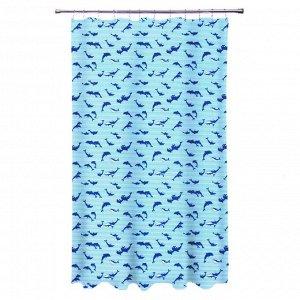 """VETTA Шторка для ванной, полиэстер, 180х180см, """"Дельфин"""""""