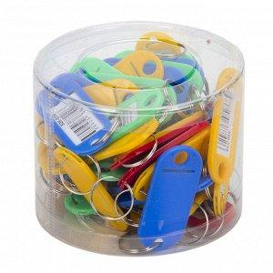 Брелок для ключей с идентификатором 5х2,2см, с металл.кольцом, в пластиковой банке