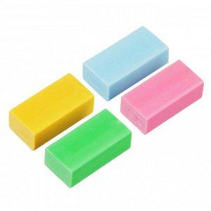 ClipStudio Ластик прямоугольный 3x1,5x1,1см, в картон. держателе, 4 цвета, термопластичная резина