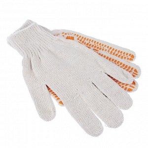 ЕРМАК Перчатки вязаные ЛЮКС х/б с ПВХ напылением, 5 нитей, белые, 62гр, 24см, подвес