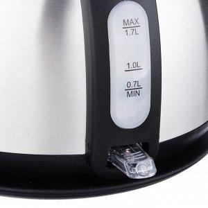 LEBEN Чайник электрический 1,7л, 1850Вт, нерж сталь, встр. термометр, T-9016