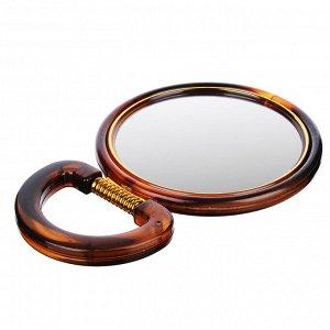 ЮниLook Зеркало настольное круглое, пластик, стекло, d14,5см, коричнево-золотое, 417-6