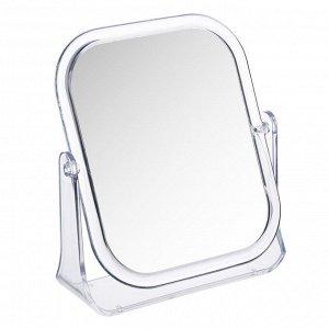 ЮниLook Зеркало настольное прямоугольное, 15х18см, пластик прозрачный