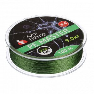 AZOR FISHING Леска плетеная, PE Мастер, 0,16мм, 100м, 9,0 кг, зеленая