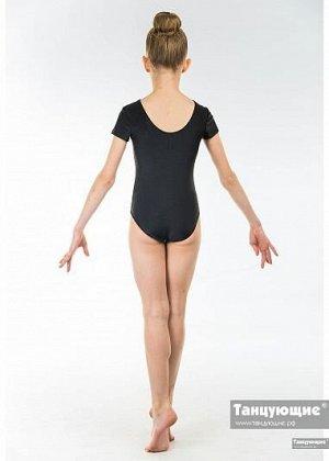 Купальник хореографический с коротким рукавом бифлекс черный