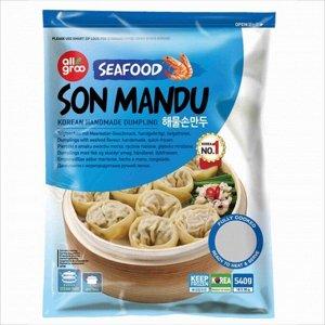 Дамплинги с морепродуктами ручной лепки, 540 грамм. Южная корея.