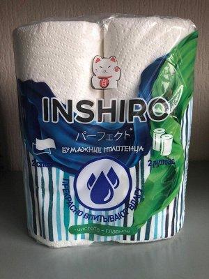Полотенца бумажные INSHIRO- БЕЛЫЙ-    2-х слойные , с рисунком 2 рулона