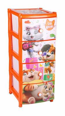 Комод Комод  4-х секц широкий ОРАНЖЕВЫЙ [44 КОТЕНКА] №2 Современный и функциональный комод, декорированный образами персонажей популярного мультфильма «44 котёнка» компании Rainbow. Изделие способно г