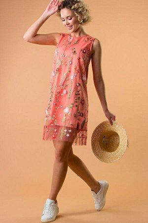 Платье Мелани коралл  П-214-4