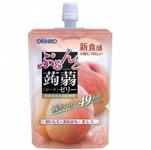 """Фруктовое желе Orihiro питьевое """"персик"""" на основе коняку с содержанием натурального сока 130 гр /Япония/"""