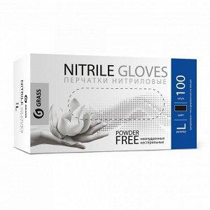Перчатки нитриловые черные (кор 100 шт) L Грасс