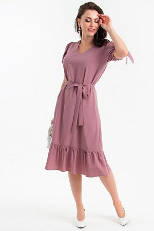 Платье Дарина с пояском (пыльная роза) П1359-15