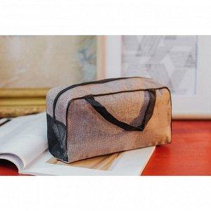 Косметичка-сумочка Минимализм, 26*9*13, отд на молнии, ручки, коричневый