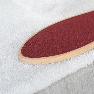 Тёрка для ног, наждачная, двусторонняя, 60/120, 26,5 см, деревянная