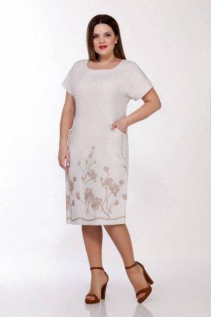 Платье Платье LaKona 1294 с-беж  Состав ткани: Вискоза-45%; Лён-55%;  Рост: 164 см.  Платье женское средней длины, полуприлегающего силуэта, выполнено из натуральной ткани с вышивкой. У выреза горлов