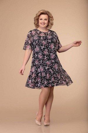 Костюм Костюм Svetlana Style 1370 №1  Рост: 164 см.  Комплект женский, состоящий из верхнего платья и нижнего сарафана.  Верхнее платье А-силуэта с втачным коротким рукавом. По низу платья оборка. Го