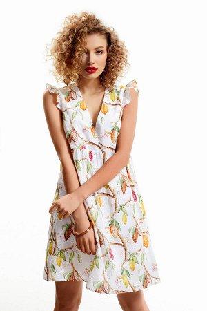 Платье Платье Dress Code 1076  Состав ткани: Хлопок-100%;  Рост: 170 см.  Летнее женское платье из вышитого хлопка. Изделие отрезное под грудью, со сборкой по нижней детали. Вырез горловины V-образны