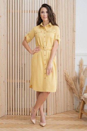 Платье Платье ЮРС 20-359/1  Состав ткани: Вискоза-18%; ПЭ-70%; Лён-12%;  Рост: 164 см.  Платье в стиле сафари должно быть в гардеробе каждой модницы и не только. Это универсальный вариант на каждый д